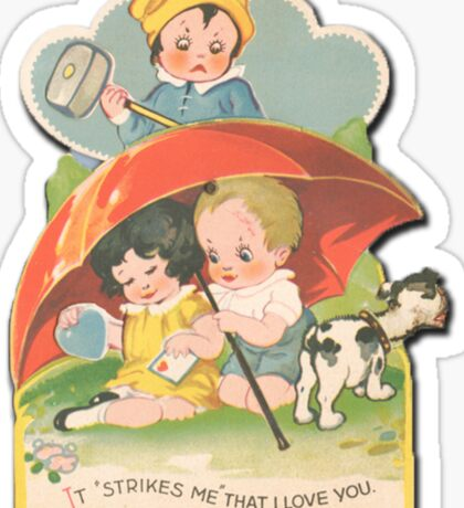 vintage valentine murder Sticker