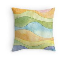 Watercolor waves Throw Pillow