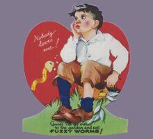 Vintage Valentine Fuzzy Worms Kids Tee