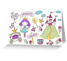 Fairy princess and her castle Greeting Card