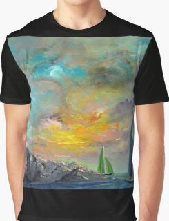 colorful sky sail boats Graphic T-Shirt