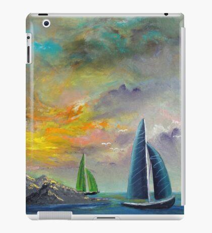 colorful sky sail boats iPad Case/Skin
