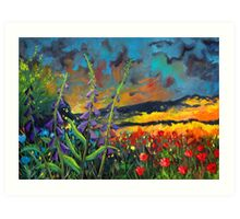 abstract landscape flower painting with colorful sky Art Print
