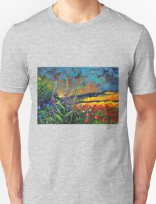 abstract landscape flower painting with colorful sky Unisex T-Shirt