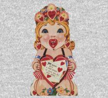 Vintage Valentine love doll Kids Tee