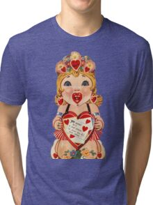 Vintage Valentine love doll Tri-blend T-Shirt