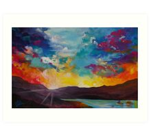 Pixel Sunrise original oil painting  Art Print