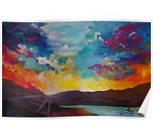Pixel Sunrise original oil painting  Poster