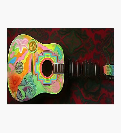 'Hippie Tunes' - Psychedelic Guitar Photographic Print