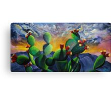 Original New Mexico cactus painting with a bold colorful sky and prickly pear fruit with the sandia mountains. Canvas Print