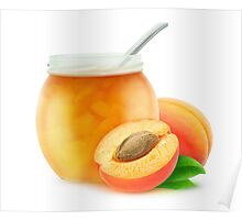 Apricot jam and fresh apricots Poster
