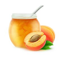 Apricot jam and fresh apricots Photographic Print