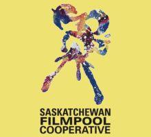 Saskatchewan Filmpool Cooperative large colourful logo - black Kids Tee