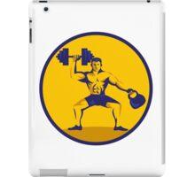 Athlete Lifting Kettlebell Dumbbell Circle Retro iPad Case/Skin