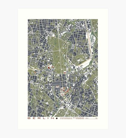 Berlin city engraving map Art Print