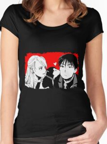 Roy Mustang and Riza Hawkeye FullMetal Alchemist Women's Fitted Scoop T-Shirt