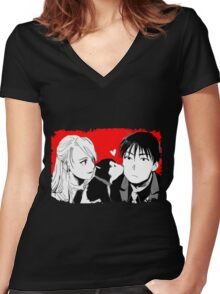 Roy Mustang and Riza Hawkeye FullMetal Alchemist Women's Fitted V-Neck T-Shirt