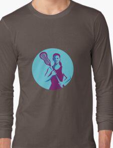 Female Lacrosse Player Stick Circle Retro Long Sleeve T-Shirt