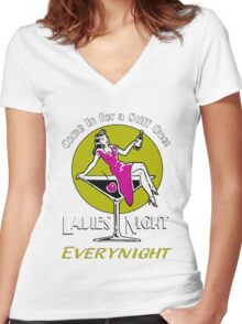 Ladies night retro Fifties party Women's Fitted V-Neck T-Shirt