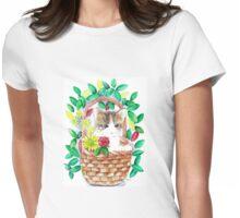 Kitten watercolour Womens Fitted T-Shirt