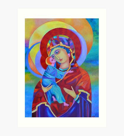 Virgin Mary with Child Jesus icon, Madonna and Child Art Print