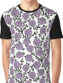 Roses // Linocut // lilac white by andrea lauren  Graphic T-Shirt
