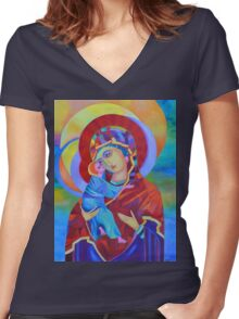 Virgin Mary with Child Jesus icon Women's Fitted V-Neck T-Shirt