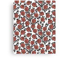 Roses // Linocut // pastel white by andrea lauren  Canvas Print