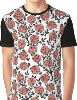 Roses // Linocut // pastel white by andrea lauren  Graphic T-Shirt