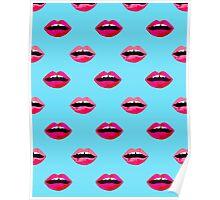 lips valentines day modern minimal lipstick kiss love girly red white black  Poster