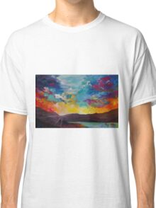 Pixel Sunrise original oil painting  Classic T-Shirt