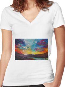 Pixel Sunrise original oil painting  Women's Fitted V-Neck T-Shirt