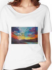 Pixel Sunrise original oil painting  Women's Relaxed Fit T-Shirt