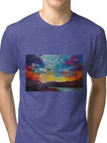 Pixel Sunrise original oil painting  Tri-blend T-Shirt