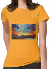 Pixel Sunrise original oil painting  Womens Fitted T-Shirt