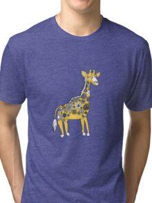 Giraffe with Flower Spots Tri-blend T-Shirt
