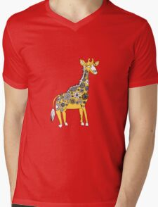 Giraffe with Flower Spots Mens V-Neck T-Shirt
