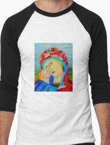 Our Lady Santa Maria nursing Christ holy icon Men's Baseball ¾ T-Shirt