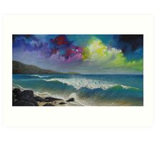 Original colorful seascape painting with ocean waves and a bright bold stormy sky Art Print