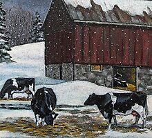 Cows in Snowy Barnyard, Original Painting, Farm Animals, No. 2 by Joyce Geleynse