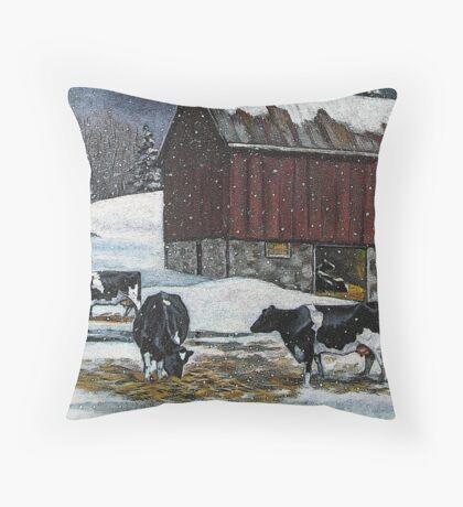 Cows in Snowy Barnyard, Original Painting, Farm Animals, No. 2 Throw Pillow