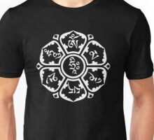 Om Mani Padme Hum (white on dark) Unisex T-Shirt