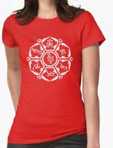 Om Mani Padme Hum (white on dark) Womens Fitted T-Shirt