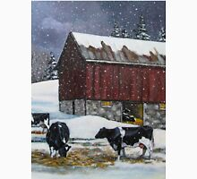 Cows in Snowy Barnyard, Original Painting, Farm Animals, No. 3 Classic T-Shirt