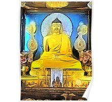 'Golden Buddha' - Gold Buddha Statue Poster