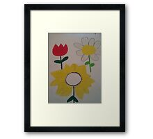 Oil Pastel Flower Picture Framed Print