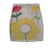 Oil Pastel Flower Picture Mini Skirt