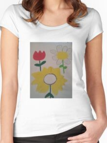 Oil Pastel Flower Picture Women's Fitted Scoop T-Shirt