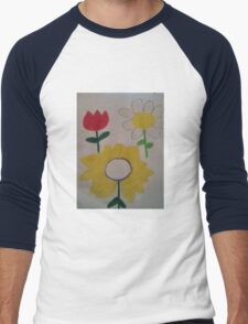 Oil Pastel Flower Picture Men's Baseball ¾ T-Shirt