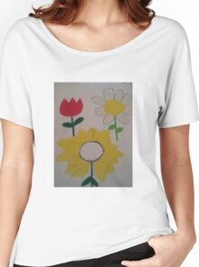 Oil Pastel Flower Picture Women's Relaxed Fit T-Shirt